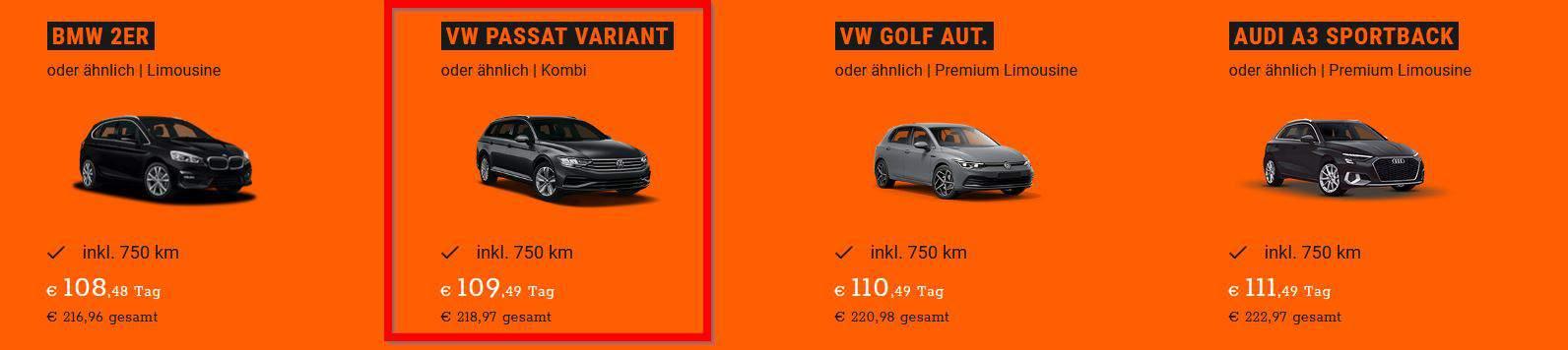 Buchung eines Sixt VW Passat mit Anhängerkupplung