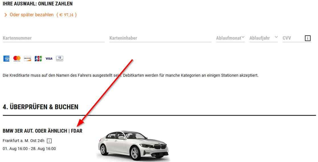 Kennzeichnung der Sixt Fahrzeugklasse auf der Webseite