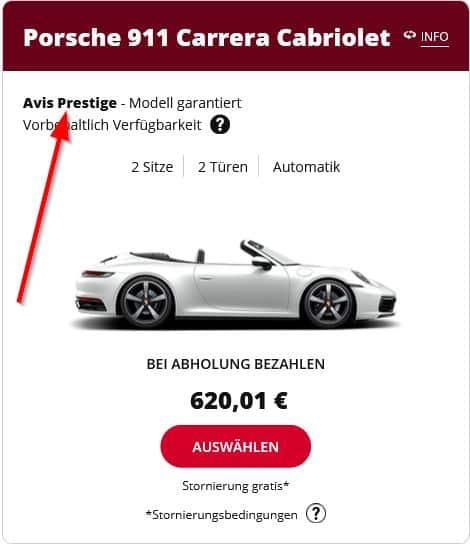 Zeigt einen Porsche 911 Carrera Cabriolet aus der AVIS Prestige Kategorie