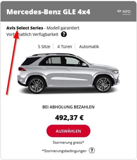 Zeigt einen Mercedes GLE aus der AVIS Select Kategorie