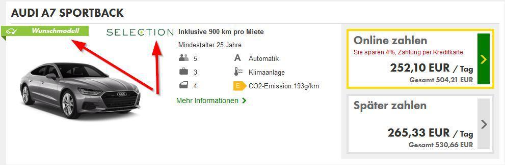 Kennzeichnung der Europcar Selection Fahrzeuge auf der Webseite